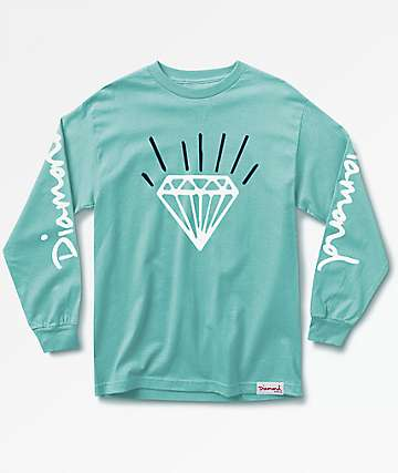 Diamond Supply Co. Gem Long Sleeve Diamond Blue T-Shirt
