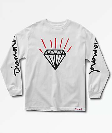 Diamond Supply Co. Gem Long Sleeve White T-Shirt