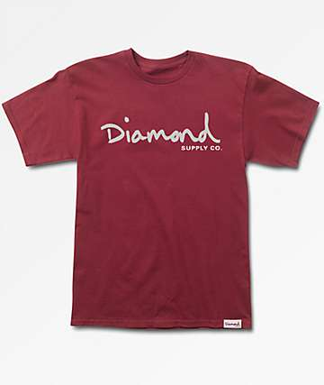 Diamond Supply Co. OG Script Burgundy T-Shirt