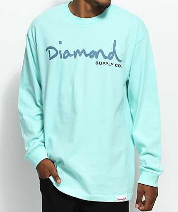 Diamond Supply Co. OG Script Long Sleeve Diamond Blue T-Shirt