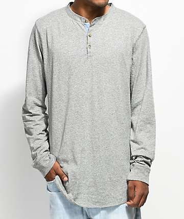 Dravus Gabe Heather Grey Long Sleeve Henley T-Shirt