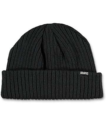 Dravus Short Stack Black Beanie