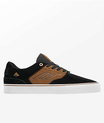 Emerica Reynolds Low Vulc Black & Tan Skate Shoes