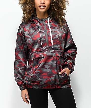 Empyre Anwen Camo Pullover Lined Windbreaker Jacket