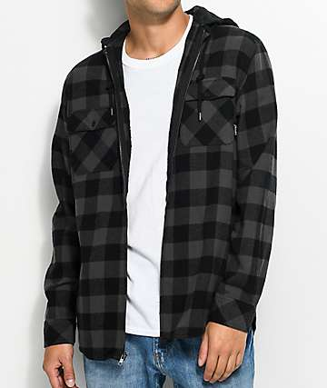 Empyre Chance Black & Charcoal Hooded Flannel