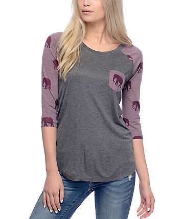 Empyre Dana Grey & Burgundy Baseball T-Shirt