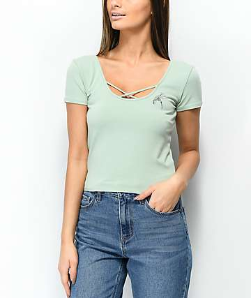 Empyre Dorcey Criss Cross Pastel Green Crop Top