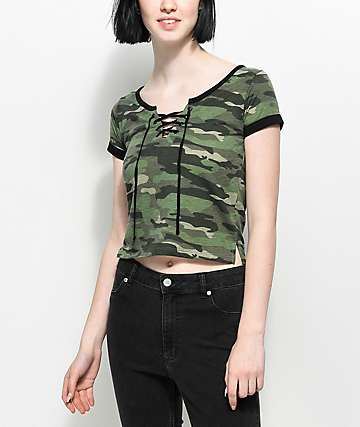 Empyre Hawn Lace Up Camo T-Shirt