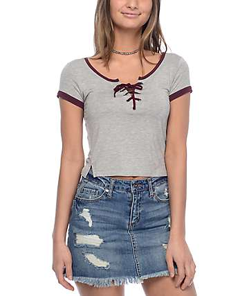 Empyre Hawn Lace Up Grey & Burgundy Top