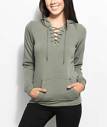 Empyre Irma Olive Lace up Hoodie
