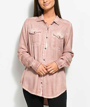 Empyre Jamie Light Pink Pigment Wash Button Up Shirt