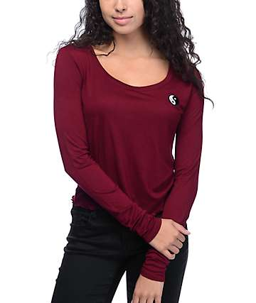 Empyre Lykke Yin Yang Lettuce Edge Burgundy Long Sleeve Top