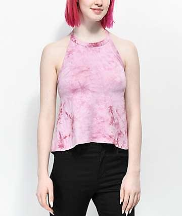 Empyre Mares Pink Tie Dye Halter Crop Top