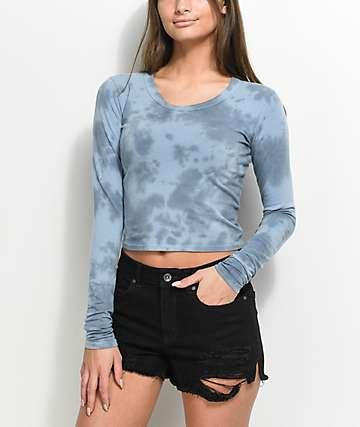 Empyre Nisha Blue Tie Dye Cut Out Long Sleeve Crop Top