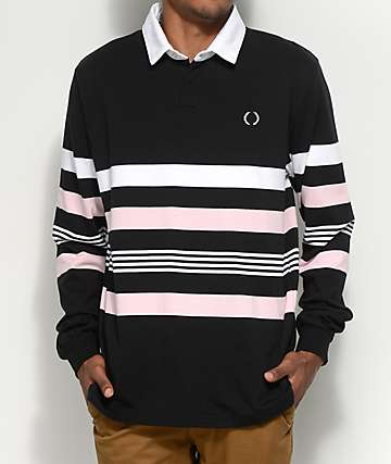 Empyre Preppin Long Sleeve Black, Pink & White Polo Shirt