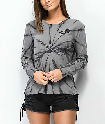 Empyre Rubino Rose Grey Tie Dye Long Sleeve T-Shirt