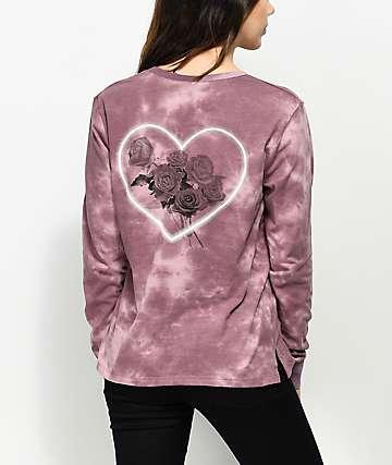Empyre Rubino Rose Heart Mauve Tie Dye Long Sleeve T-Shirt