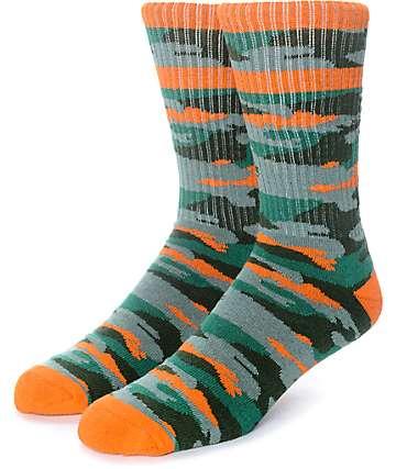Empyre Run It Green & Orange Camo Crew Socks