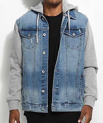 Empyre Sidecar Blue & Grey Denim Fleece Jacket