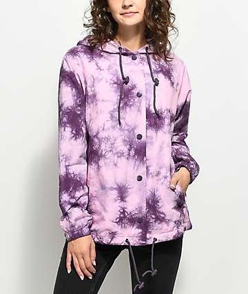 Empyre Sofiana Burgundy & Pink Tie Dye Hooded Coaches Jacket