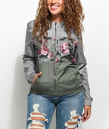 Empyre Sutton Olive & Camo Floral Windbreaker Jacket