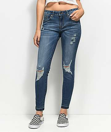 Empyre Tessa Medium Wash Distressed Raw Hem Skinny Jeans
