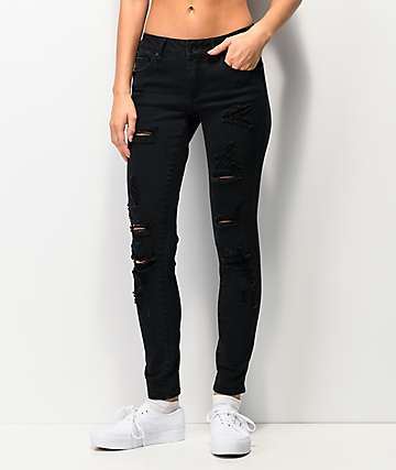 Empyre Tessa Shredded Black Skinny Jeans