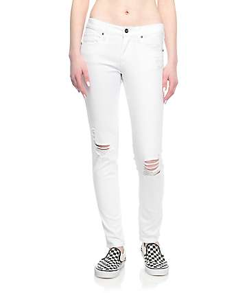 Empyre Tessa White Destructed Skinny Jeans