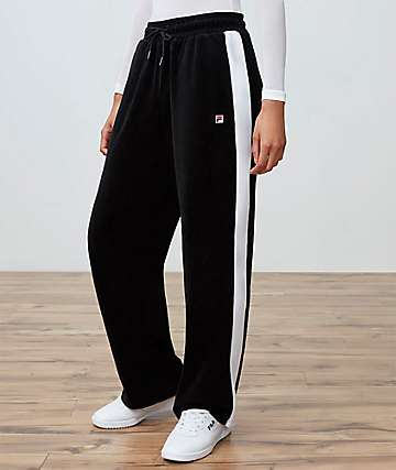 FILA Bonnie Black Velour Pants