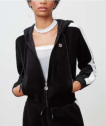 FILA Carly Velour Black Jacket