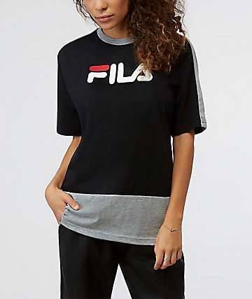 FILA Reba Black, White & Grey Oversized T-Shirt