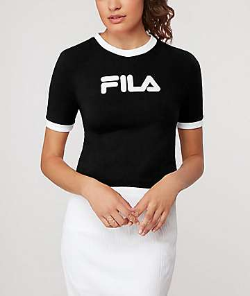FILA Tionne Black & White Crop T-Shirt
