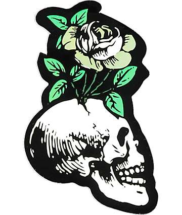 Flying Coffin Skull Flower Sticker