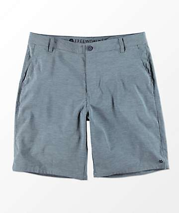 Free World Glassy Slate Blue Stretch Hybrid Shorts