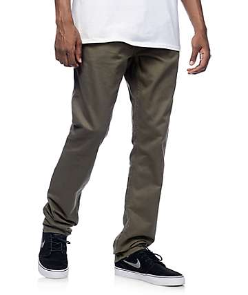 Free World Night Train Regular Fit Olive Twill Pants