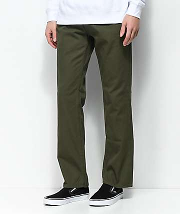 Free World Night Train Twill Olive Regular Fit Pants