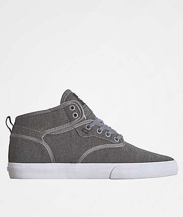 Globe Motley Mid Charcoal & White Twill Shoes