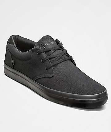 Globe Willow Black & Black Canvas Shoes