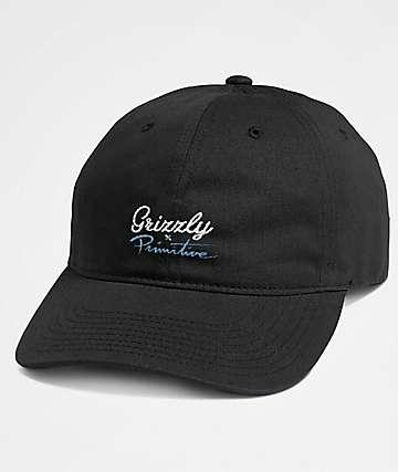 Grizzly x Primitive Script Black Dad Hat