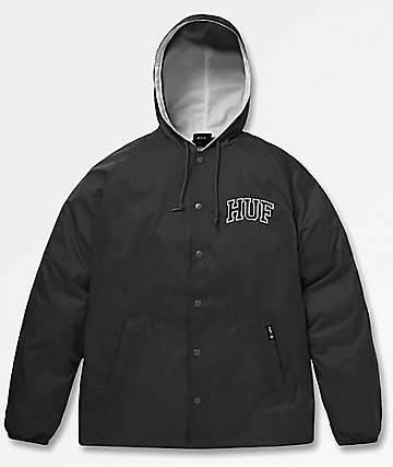 HUF Arch Block Black Hooded Coaches Jacket