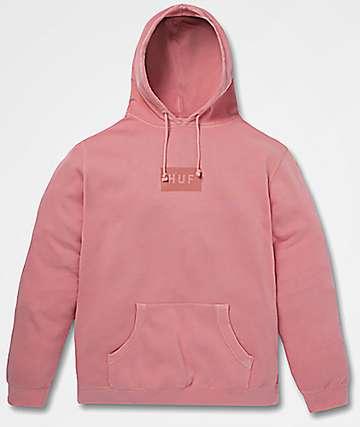 HUF Bar Logo Overdye Pink Hoodie