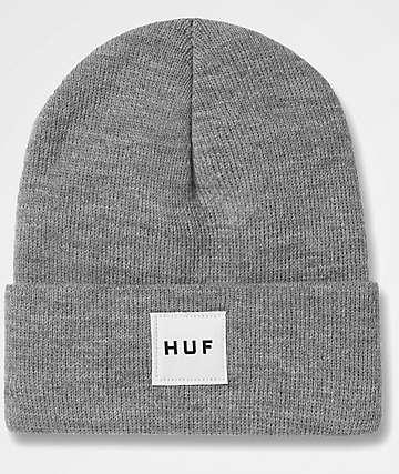 HUF Box Logo Heather Grey Beanie
