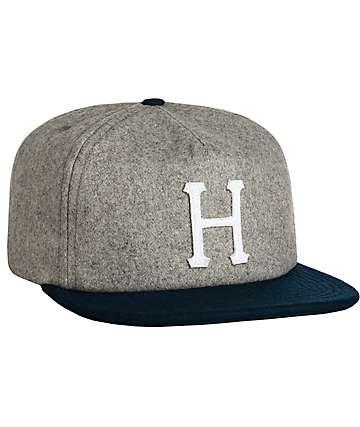 HUF Classic H Wool Ash & Navy Strapback Hat