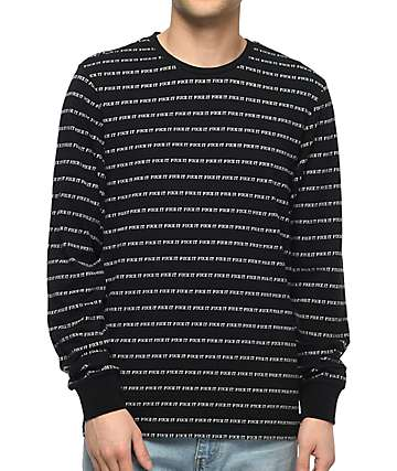 HUF Fuck It Jacquard Black Long Sleeve T-Shirt