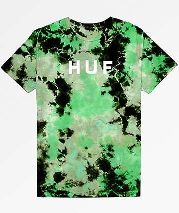 HUF OG Logo Emerald Tie Dye T-Shirt