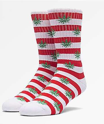 HUF Plantlife Candy Cane Red & White Crew Socks