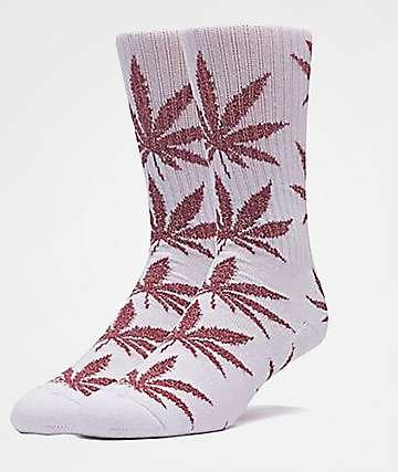 HUF Plantlife Tinsel White & Red Crew Socks