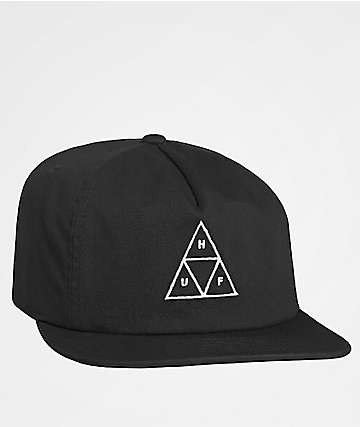 HUF Washed Triple Triangle Black Snapback Hat