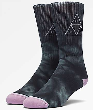HUF Washed Triple Triangle Jade Tie Dye Crew Socks