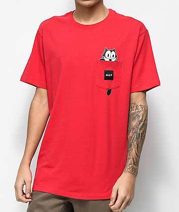 HUF x Felix The Cat Watching Pocket Red T-Shirt
